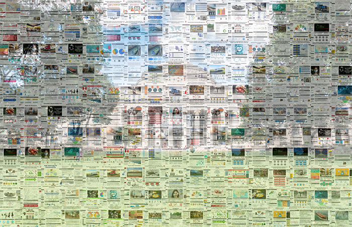 Mosaic of student research project thumbnails over photo of MIT dome